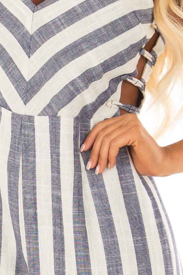 Navy and Off White Striped Jumpsuit with Side Cutouts front detail