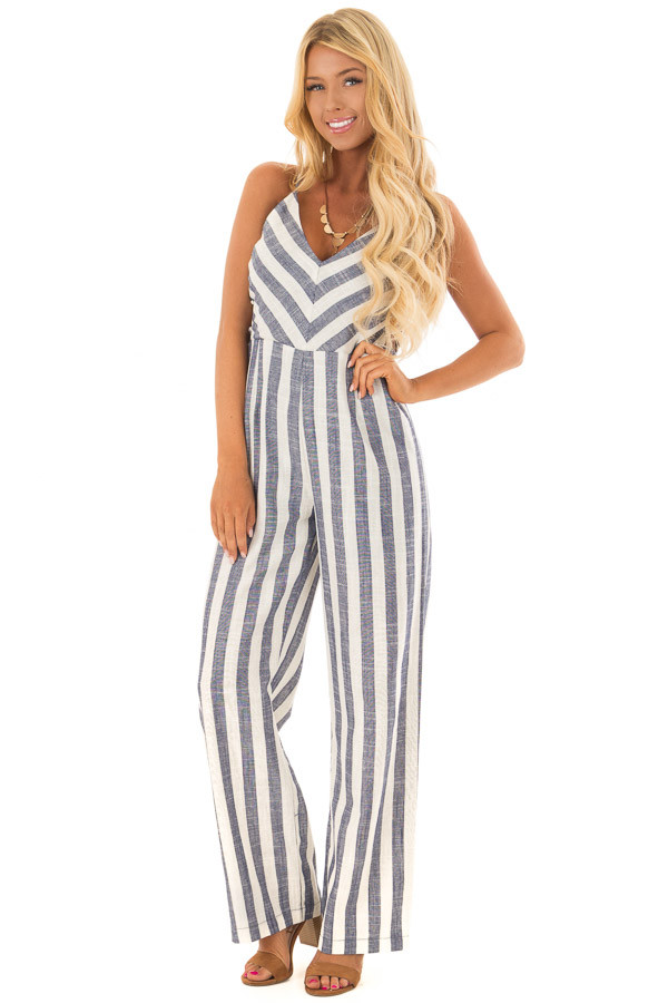 Navy and Off White Striped Jumpsuit with Side Cutouts front full body