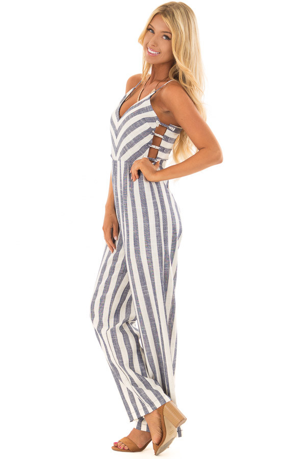 Navy and Off White Striped Jumpsuit with Side Cutouts side full body