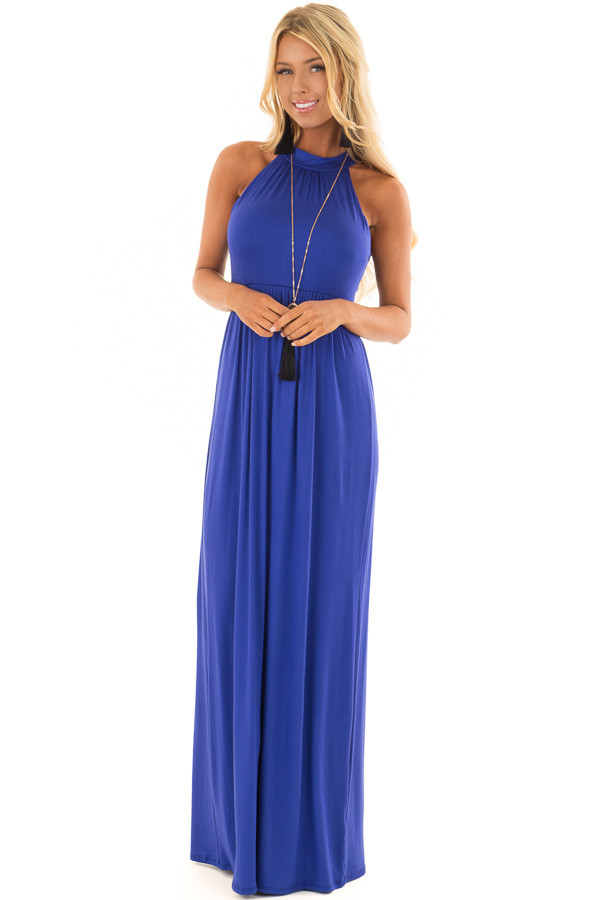 Royal Blue Maxi Dress with Jewel Neck front full body
