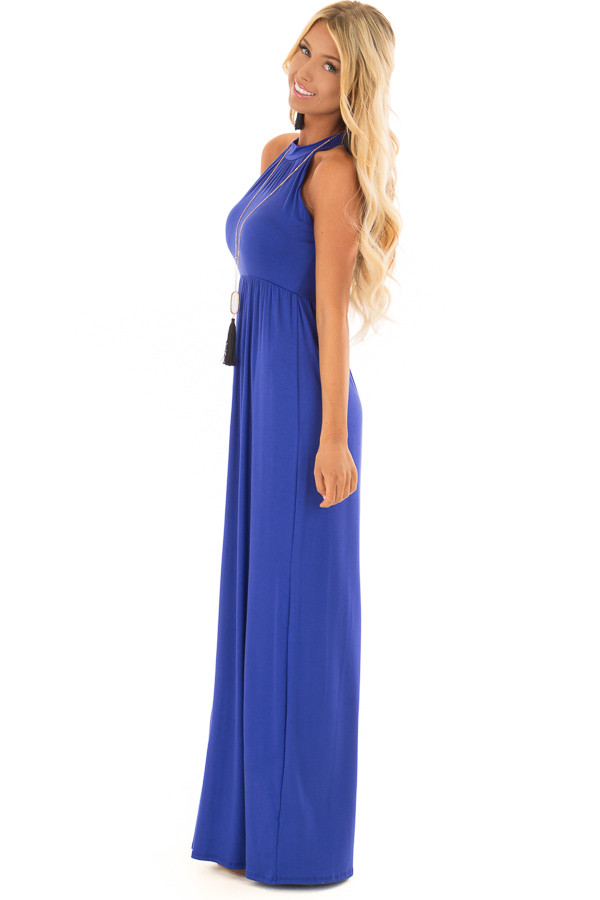 Royal Blue Maxi Dress with Jewel Neck side full body