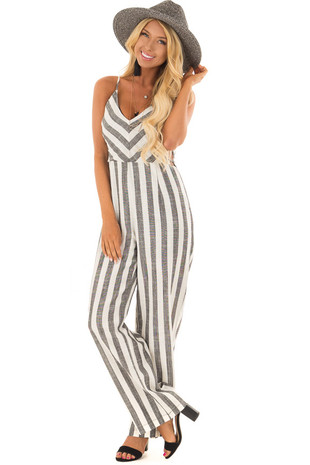 Black and Off White Striped Jumpsuit with Side Cutouts front full body