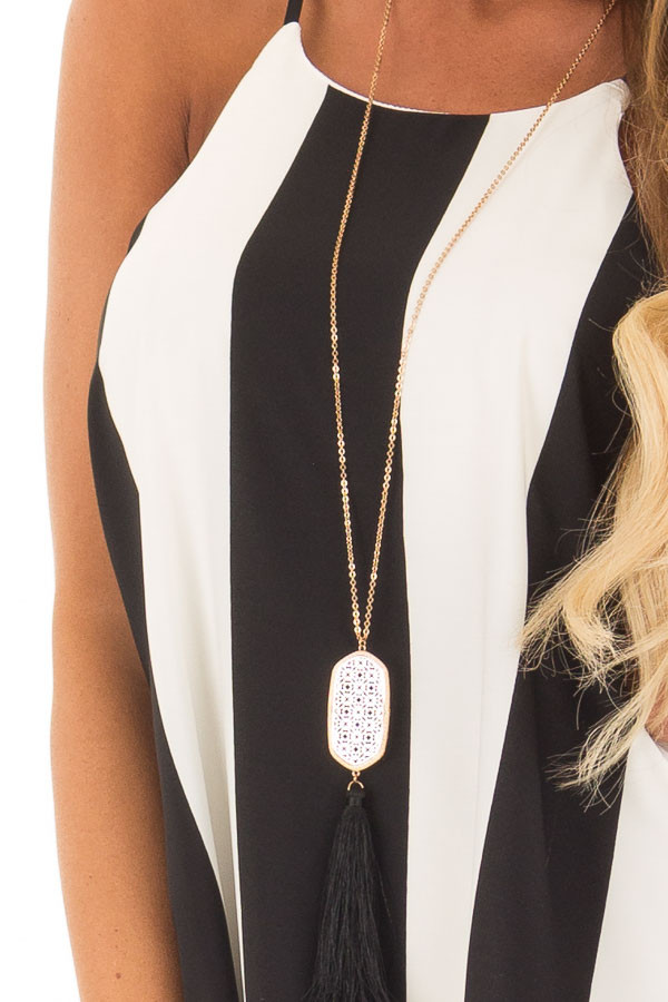 Black and White Striped Sleeveless Dress detail