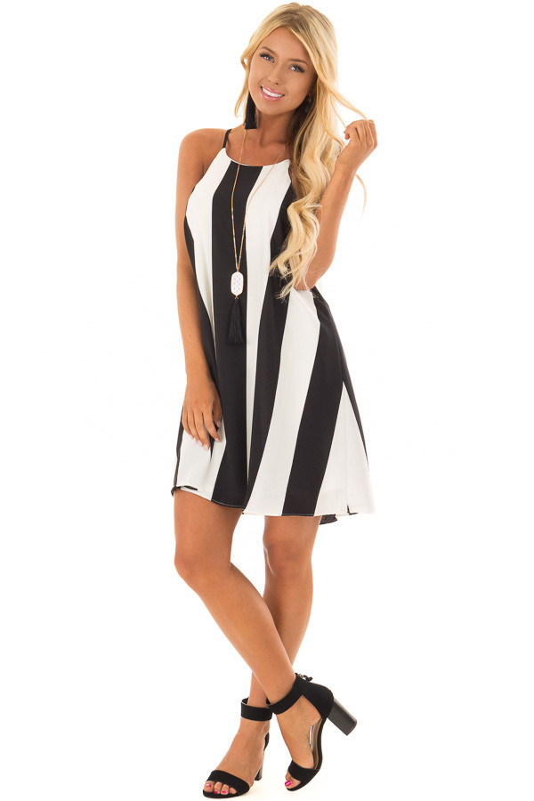 Black and White Striped Sleeveless Dress front full body