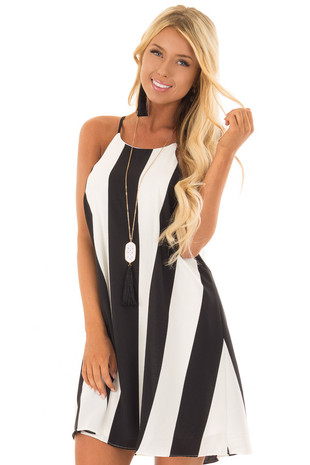 Black and White Striped Sleeveless Dress front close up
