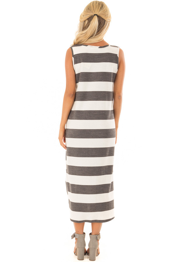Charcoal and Ivory Striped Midi Dress with Front Twist back full body