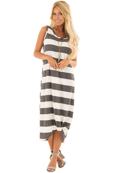 Charcoal and Ivory Striped Midi Dress with Front Twist front full body