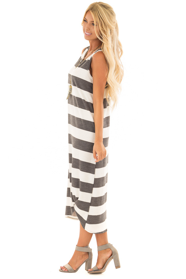 Charcoal and Ivory Striped Midi Dress with Front Twist side full body