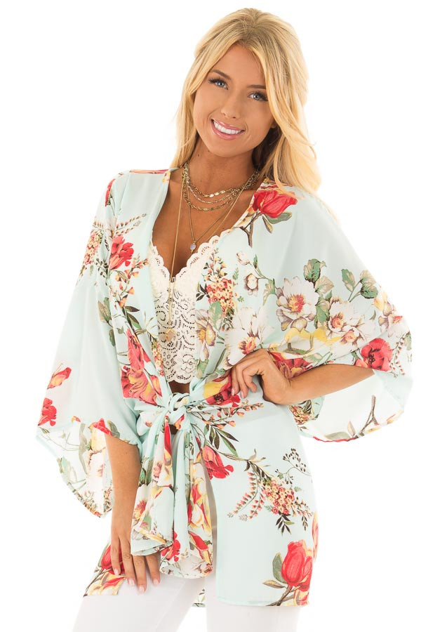 Light Blue Floral Print Short Sleeve Kimono with Tie Option front close up