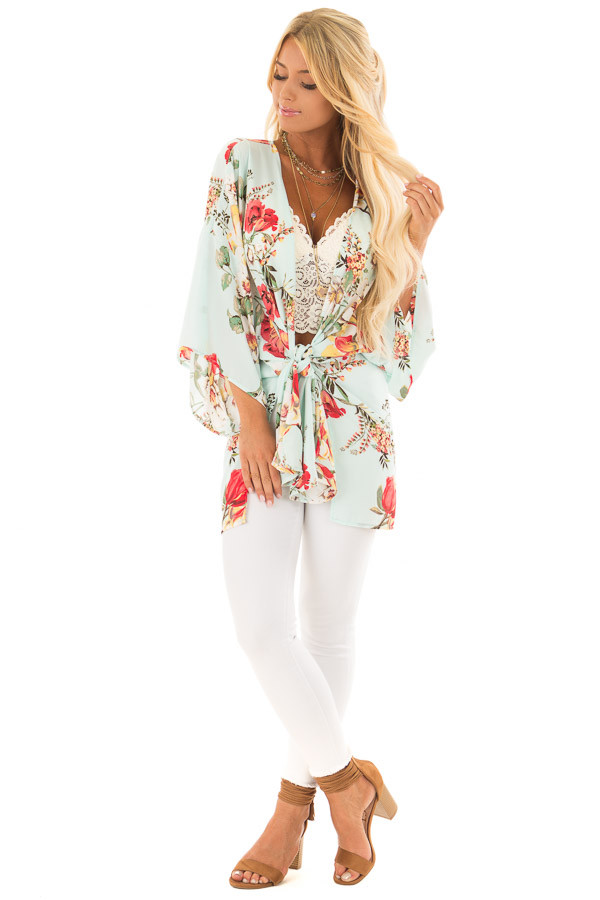 Light Blue Floral Print Short Sleeve Kimono with Tie Option front full body