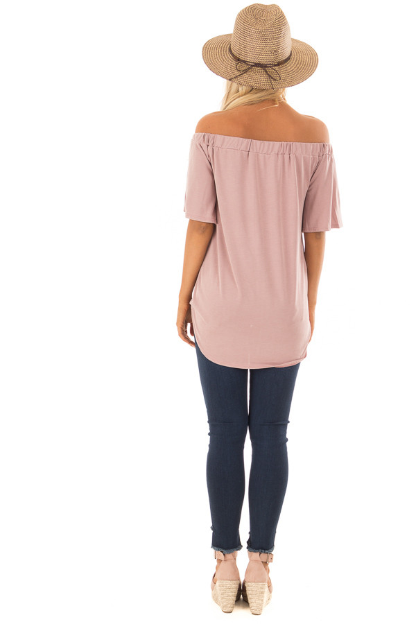 Dusty Rose Off the Shoulder Surplice Top with Cut Out Detail back full body