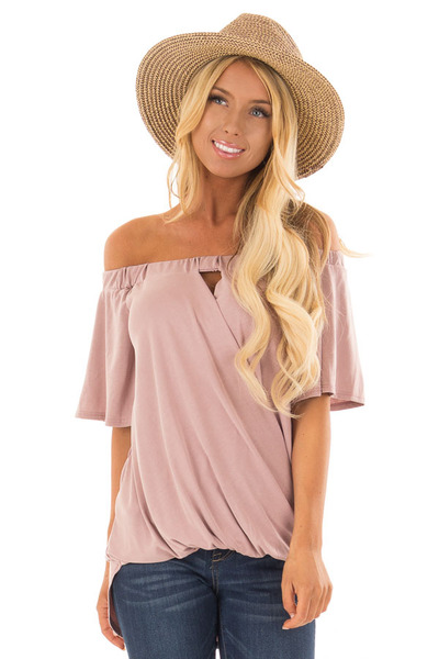 Dusty Rose Off the Shoulder Surplice Top with Cut Out Detail front close up