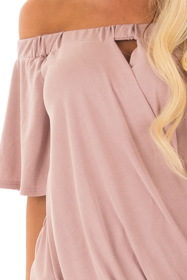 Dusty Rose Off the Shoulder Surplice Top with Cut Out Detail detail