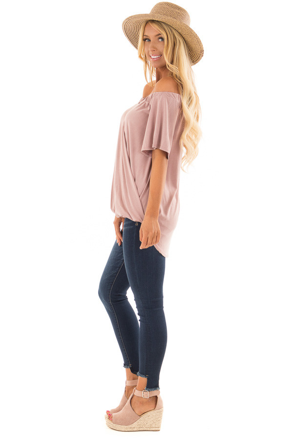 Dusty Rose Off the Shoulder Surplice Top with Cut Out Detail side full body