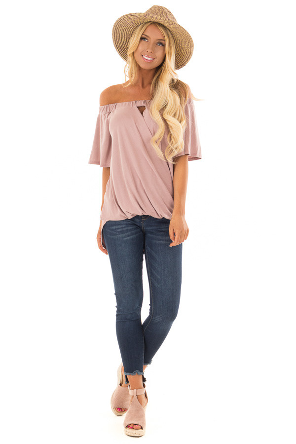 Dusty Rose Off the Shoulder Surplice Top with Cut Out Detail front full body