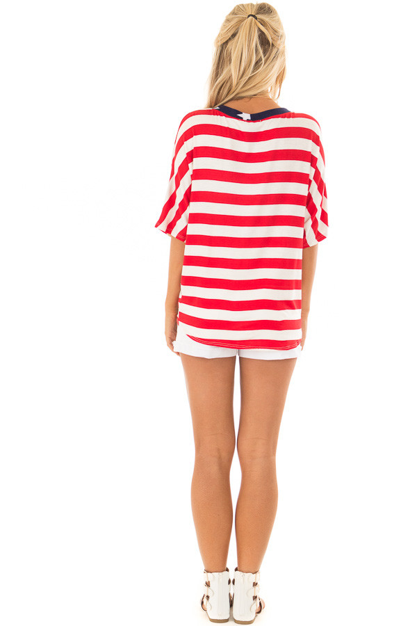 Americana Striped and Star Print Top with Front Tie Detail back full body