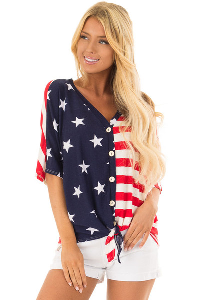 Americana Striped and Star Print Top with Front Tie Detail front close up