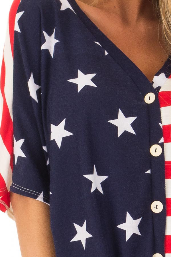 Americana Striped and Star Print Top with Front Tie Detail detail