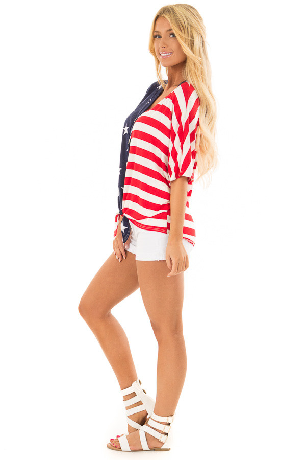 Americana Striped and Star Print Top with Front Tie Detail side full body