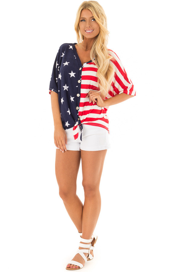 Americana Striped and Star Print Top with Front Tie Detail front full body