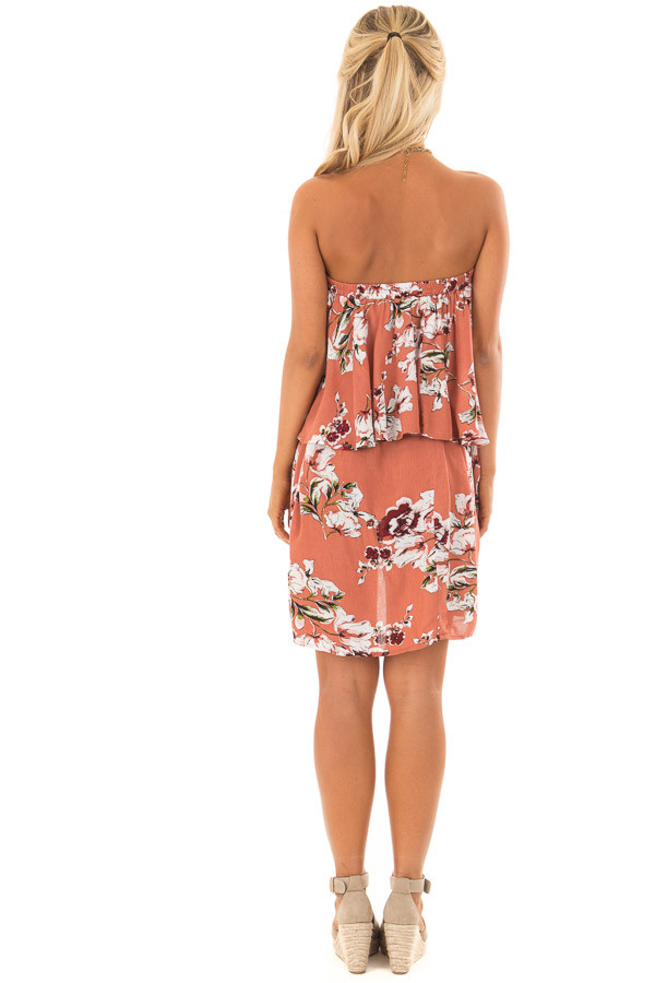 Rust Floral Print Double Layer Tube Dress with Waist Tie back full body