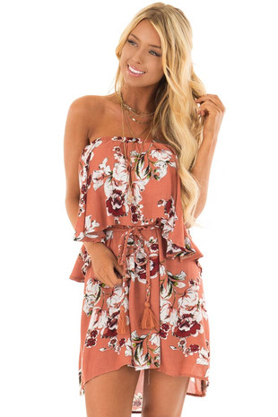 Rust Floral Print Double Layer Tube Dress with Waist Tie front close up