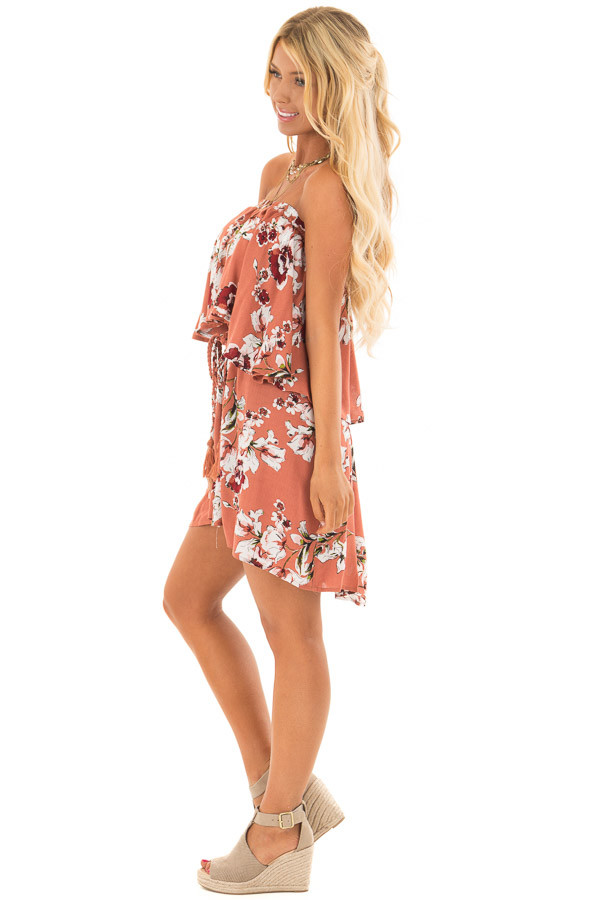 Rust Floral Print Double Layer Tube Dress with Waist Tie side full body