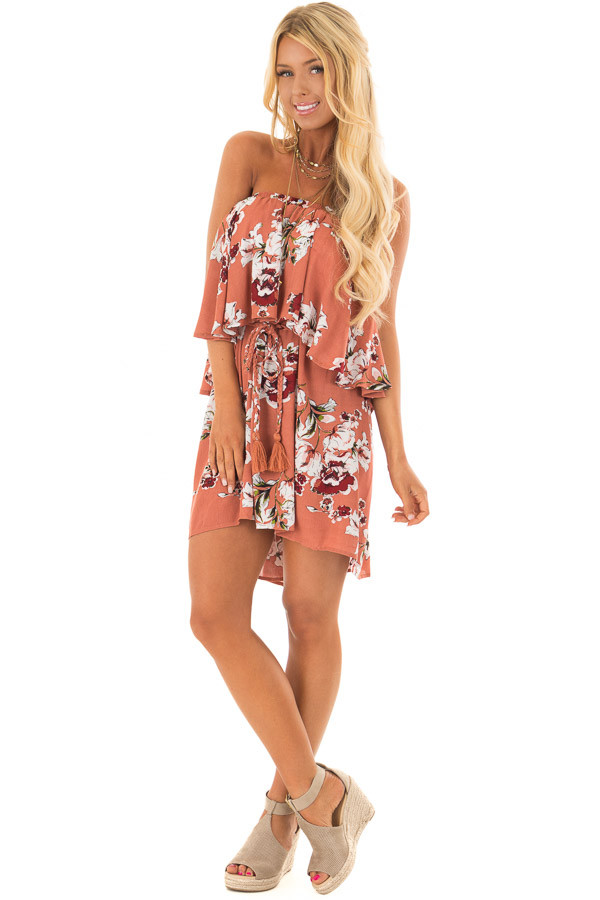 Rust Floral Print Double Layer Tube Dress with Waist Tie front full body