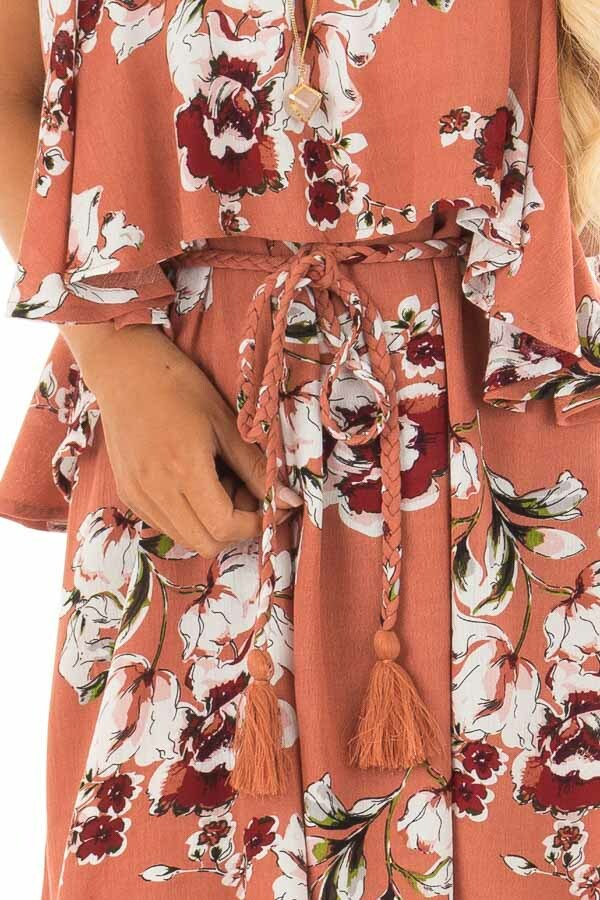Rust Floral Print Double Layer Tube Dress with Waist Tie detail