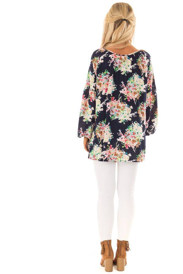 Navy Floral Print Long Sleeve Top with V Neckline back full body