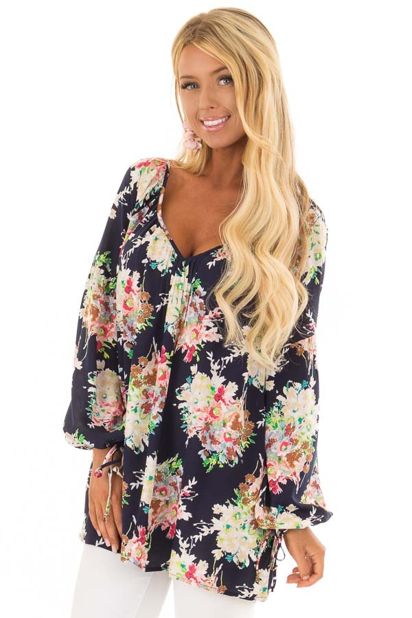 Navy Floral Print Long Sleeve Top with V Neckline front close up