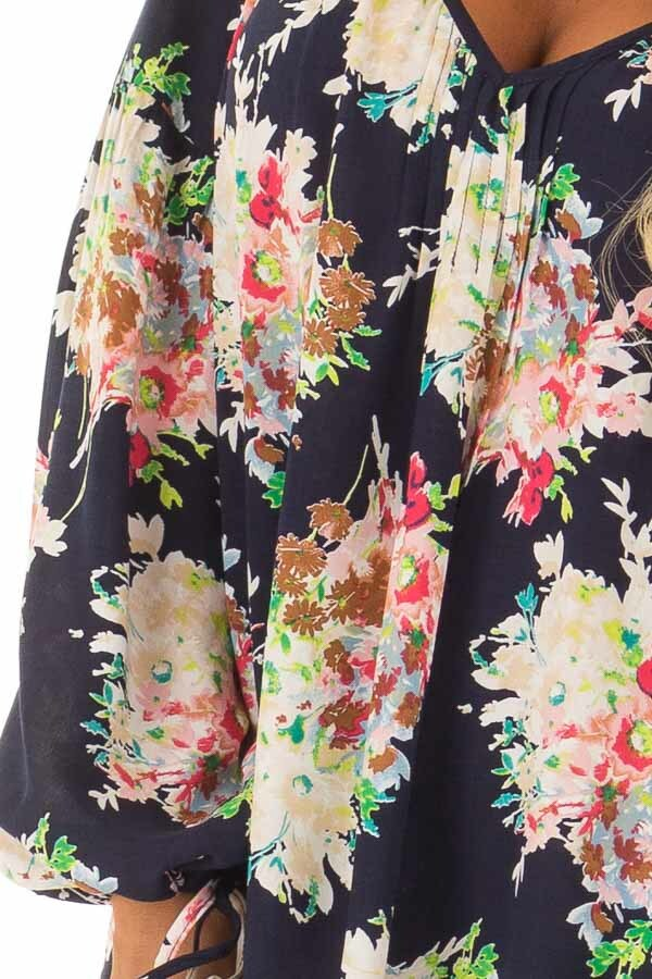 Navy Floral Print Long Sleeve Top with V Neckline detail