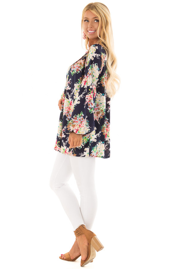Navy Floral Print Long Sleeve Top with V Neckline side full body