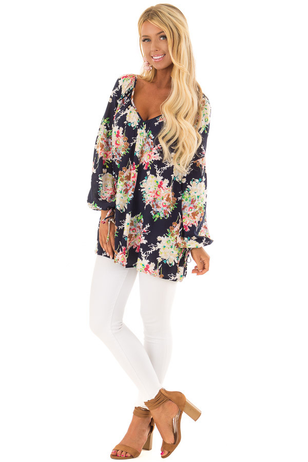 Navy Floral Print Long Sleeve Top with V Neckline front full body