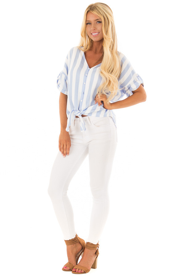 Sky Blue and White Striped Button Down Top with Front Tie front full body