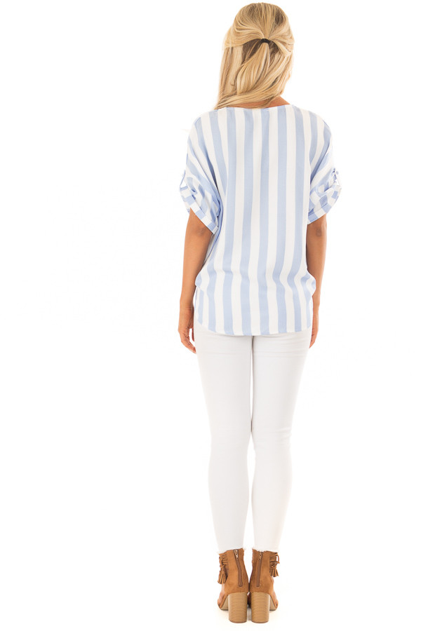 Sky Blue and White Striped Button Down Top with Front Tie back full body