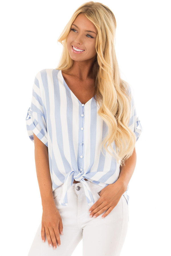 Sky Blue and White Striped Button Down Top with Front Tie front close up