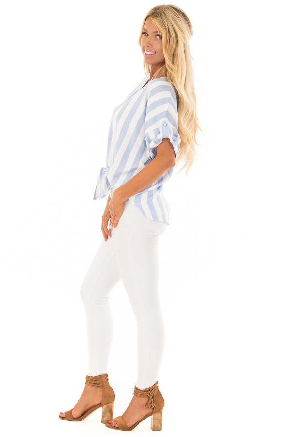 Sky Blue and White Striped Button Down Top with Front Tie side full body