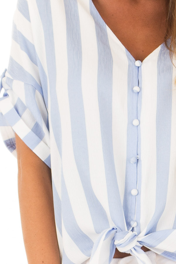 Sky Blue and White Striped Button Down Top with Front Tie detail
