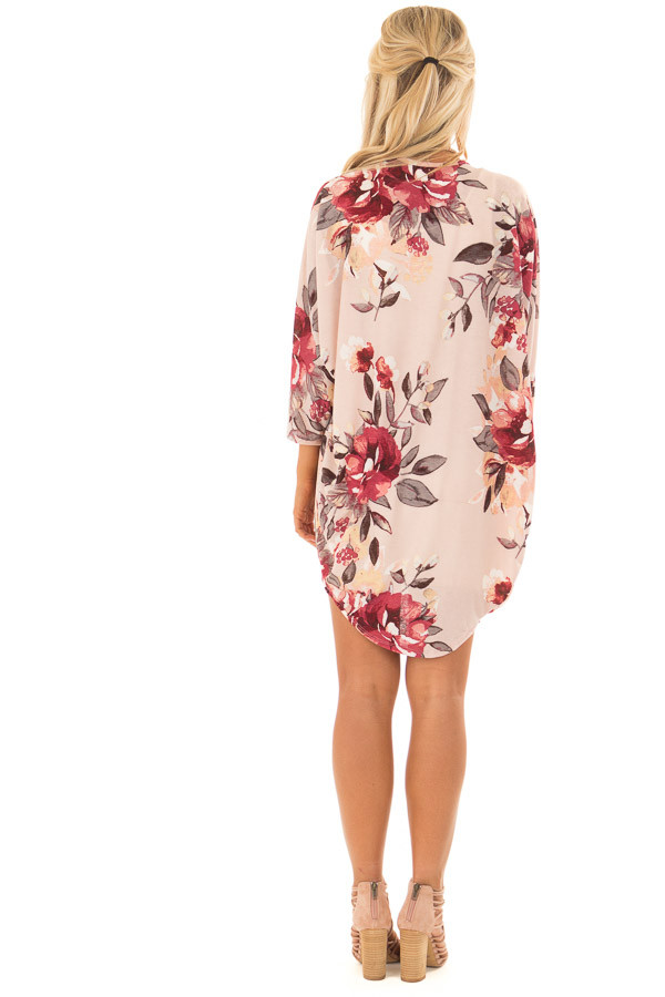 Blush Floral Print Cardigan with Cocoon Hemline back full body