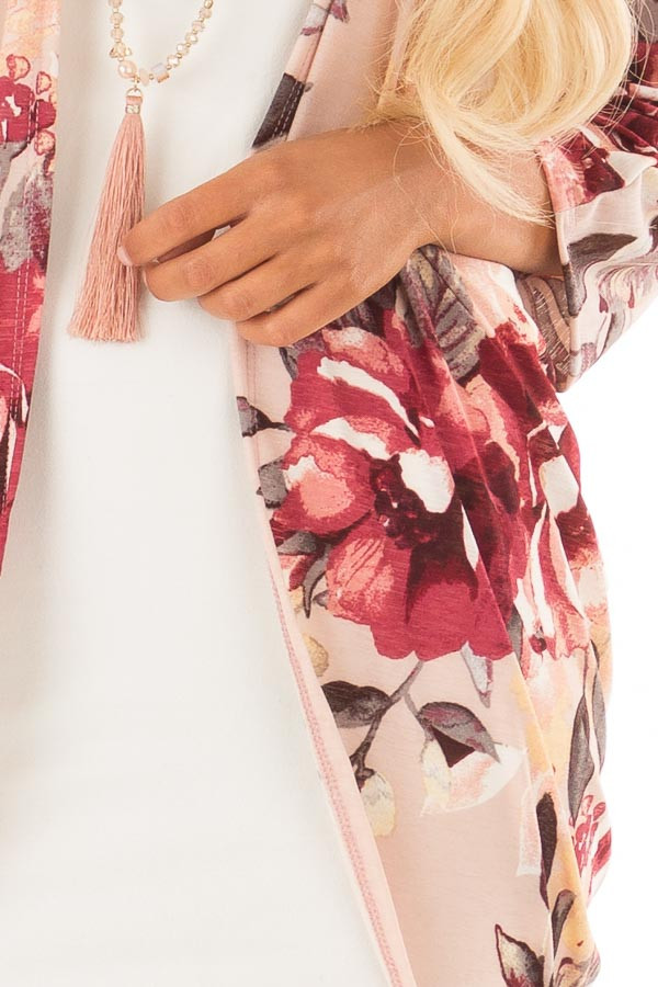 Blush Floral Print Cardigan with Cocoon Hemline detail