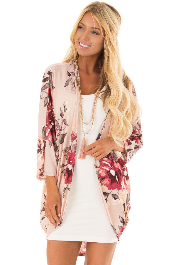 Blush Floral Print Cardigan with Cocoon Hemline front close up
