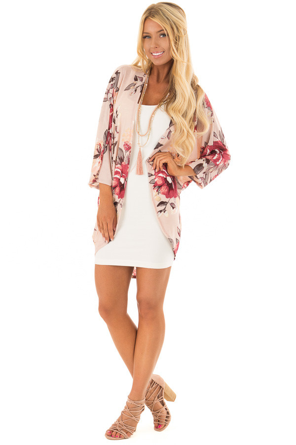 Blush Floral Print Cardigan with Cocoon Hemline front full body