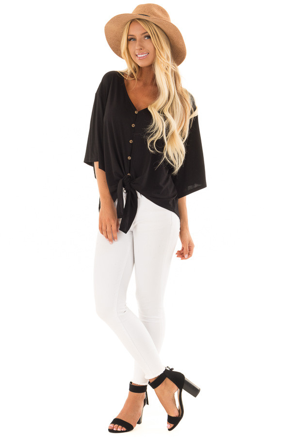Black Button Up Top with 3/4 Sleeve and Front Tie Detail front full body