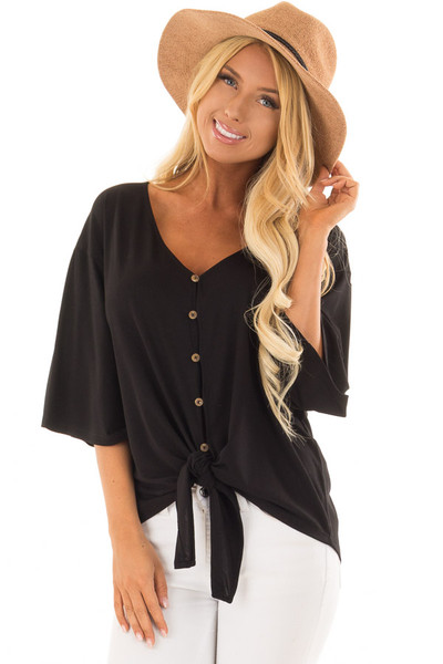 Black Button Up Top with 3/4 Sleeve and Front Tie Detail front close up