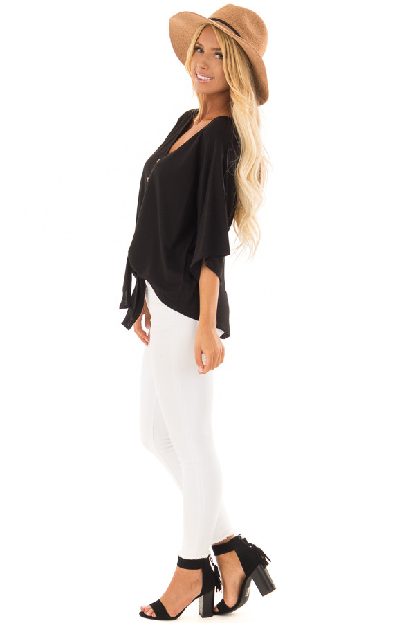 Black Button Up Top with 3/4 Sleeve and Front Tie Detail side full body