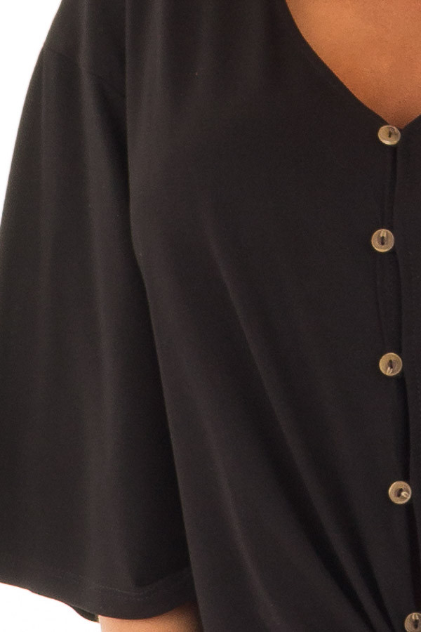 Black Button Up Top with 3/4 Sleeve and Front Tie Detail detail