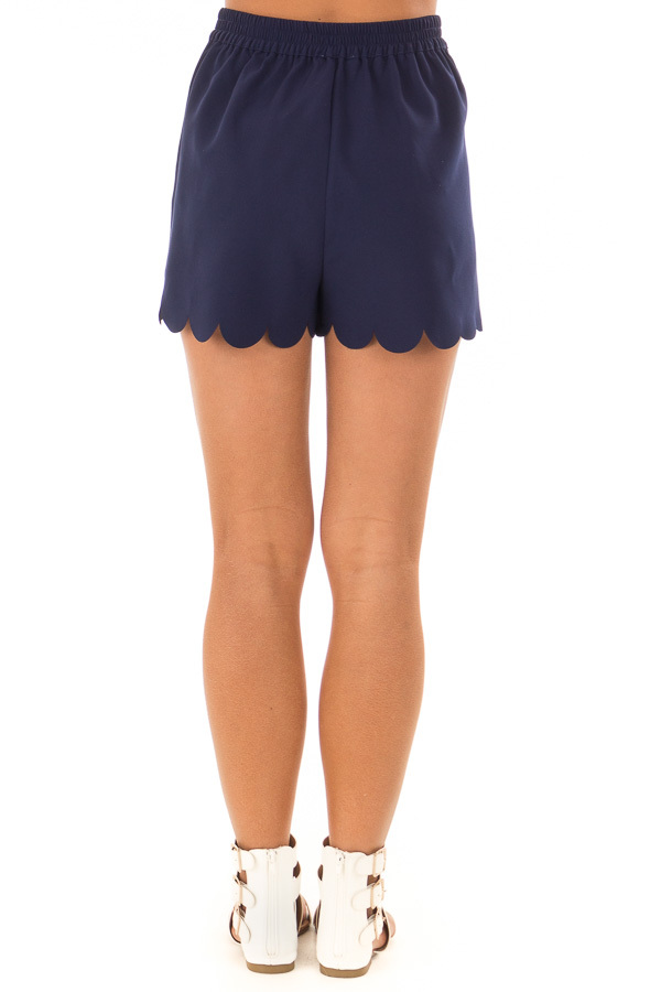 Navy Scalloped Hem Shorts with Side Pockets back view