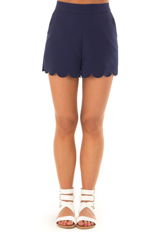 Navy Scalloped Hem Shorts with Side Pockets front view