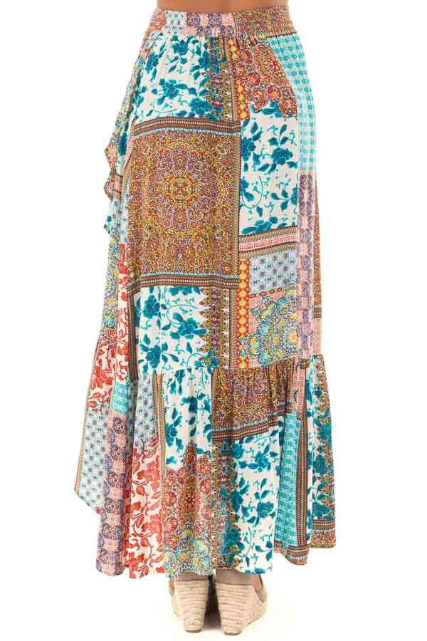 Turquoise Bohemian Patchwork Skirt with Wrap Style Front back view